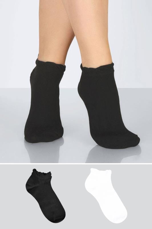 Plus Size Plus Size Socks 4 PACK Black & White Trainer Socks