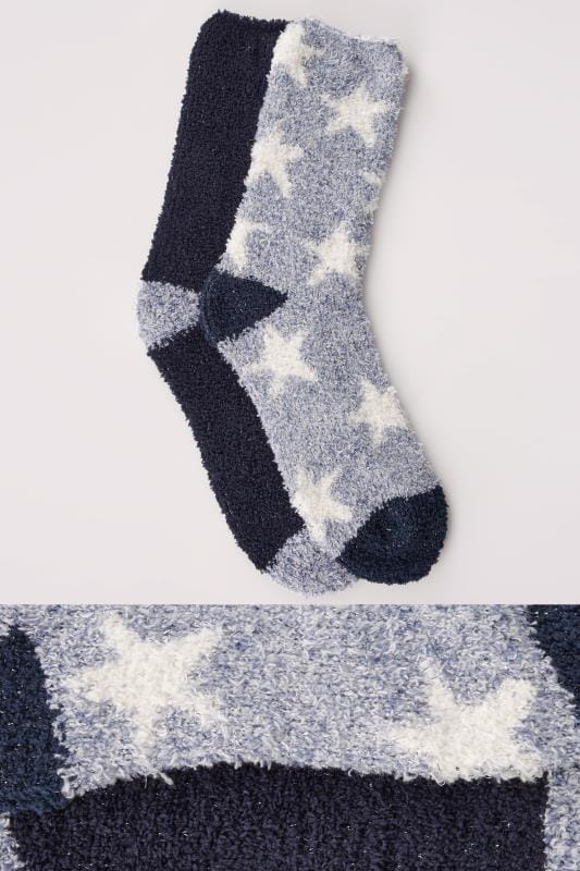 Skarpety 2 PACK Blue, Navy & White Star Print Sparkle Cosy Socks 152292