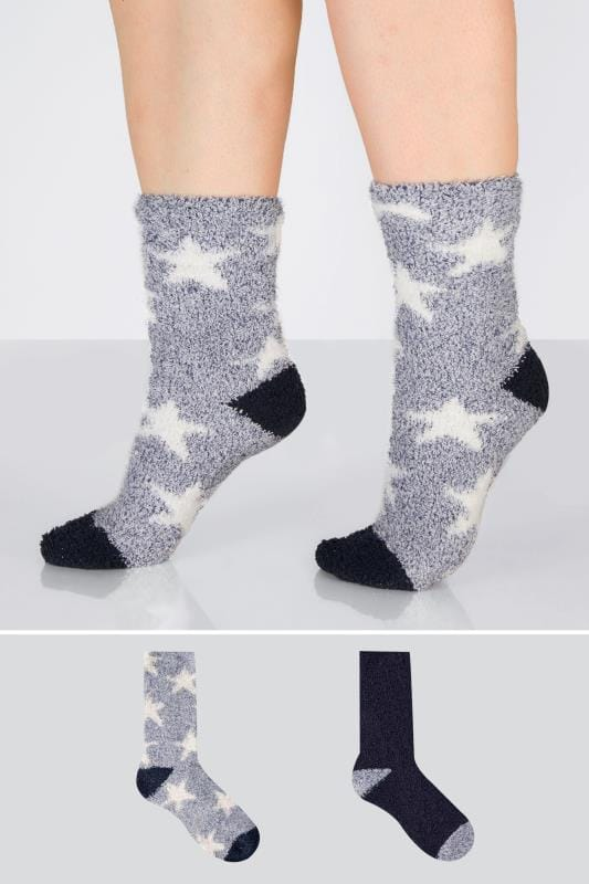 2 PACK Blue, Navy & White Star Print Sparkle Cosy Socks