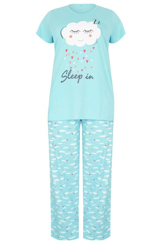 Blue 'Sleep In' Slogan & Cloud Print Pyjama Set