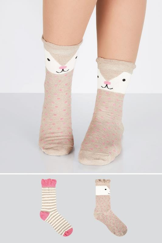 Plus Size Socks 2 PACK Brown, Pink & Multi Cute Bear Socks