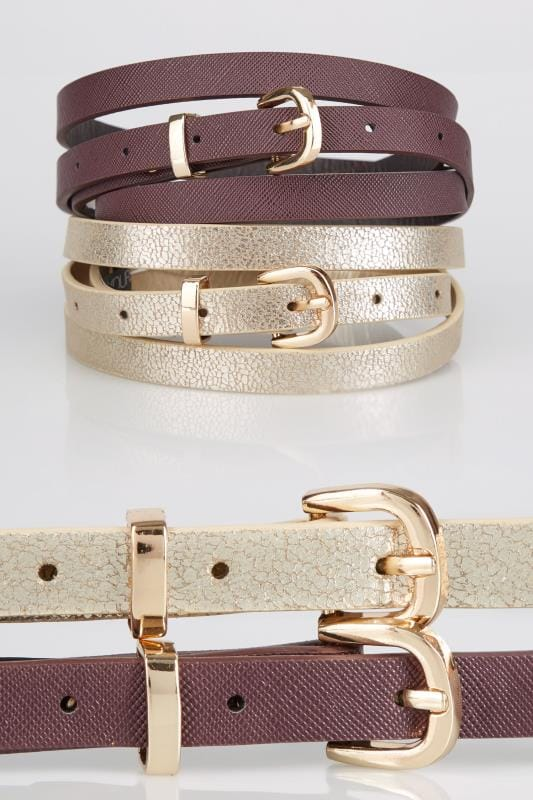 2 PACK Gold & Burgundy Skinny Belts With Pin Buckle Fastening