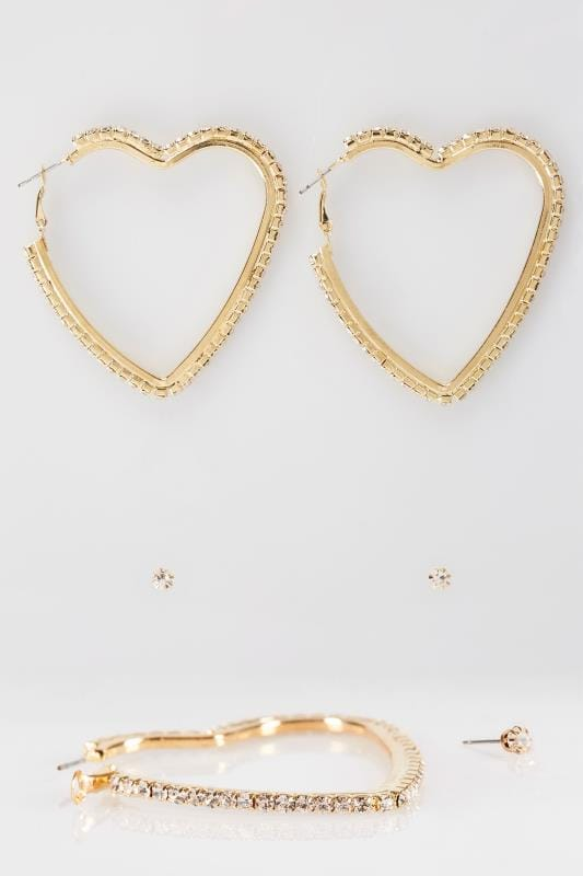 2 PACK Gold Diamante Heart Hoop Earrings & Stud Set