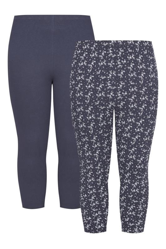 2 pack navy cropped floral leggings plus sizes 16 to 36 for Background images in div