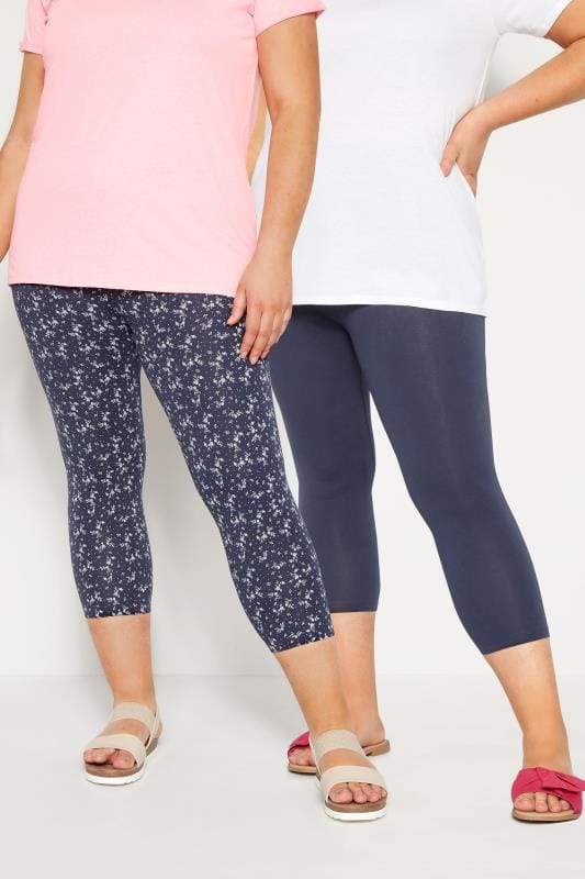 Plus Size Cropped Leggings 2 PACK Navy Cropped Floral Leggings