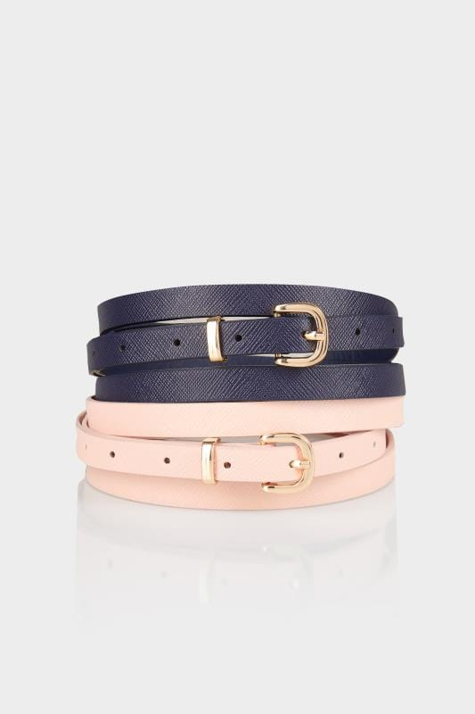 Plus Size Plus Size Belts 2 PACK Navy & Pink Skinny Belts