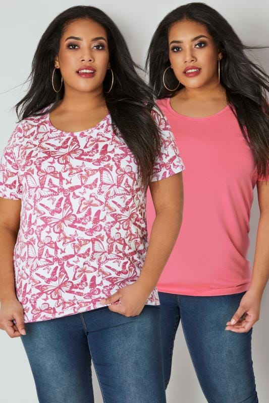 Plus Size Day Tops 2 PACK Pink Butterfly Printed & Plain T-Shirts