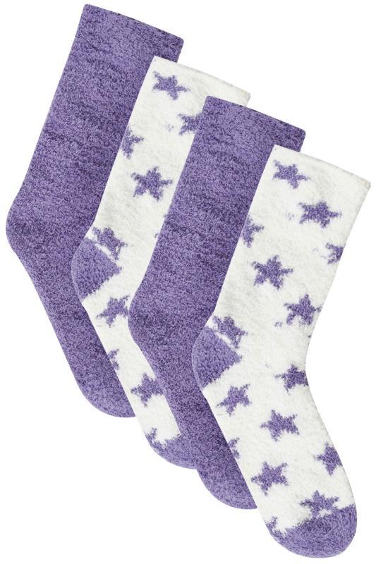 2 PACK Purple & White Star Print Cosy Socks