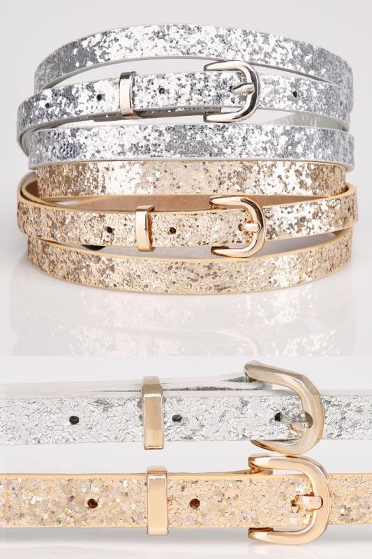 2 PACK Silver & Gold Glitter Skinny Belts With Pin Buckle Fastenings