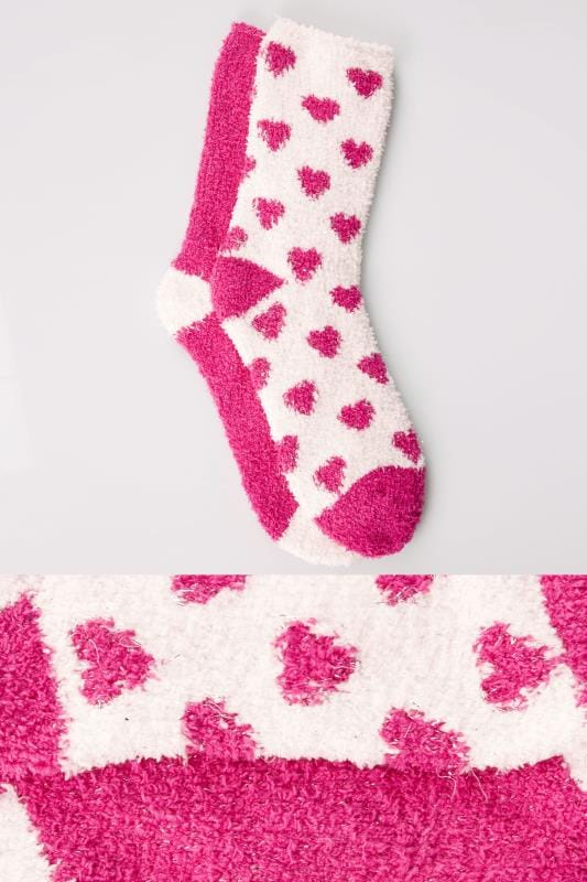 Plus Size Socks 2 PACK White & Fuchsia Heart Print Sparkle Cosy Socks