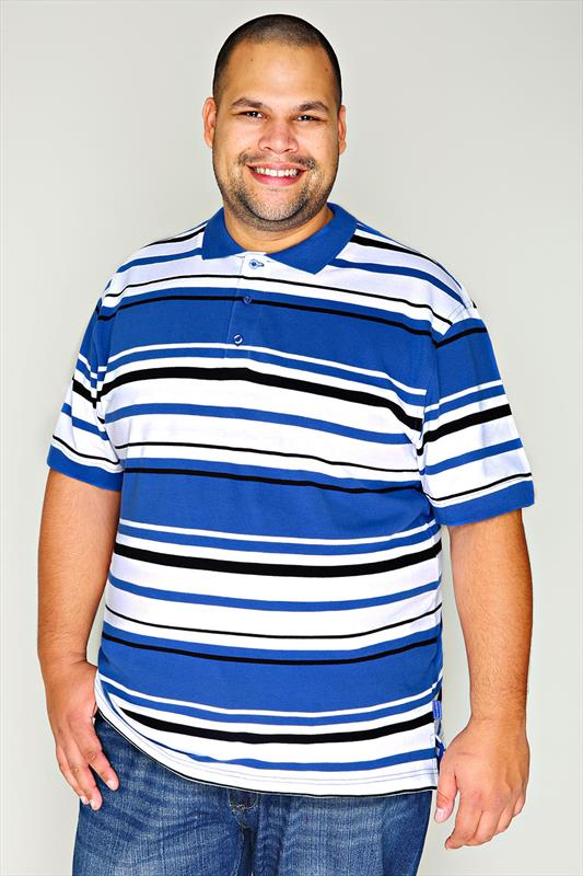 Blue, Black & White Stiped Short Sleeve Polo Shirt