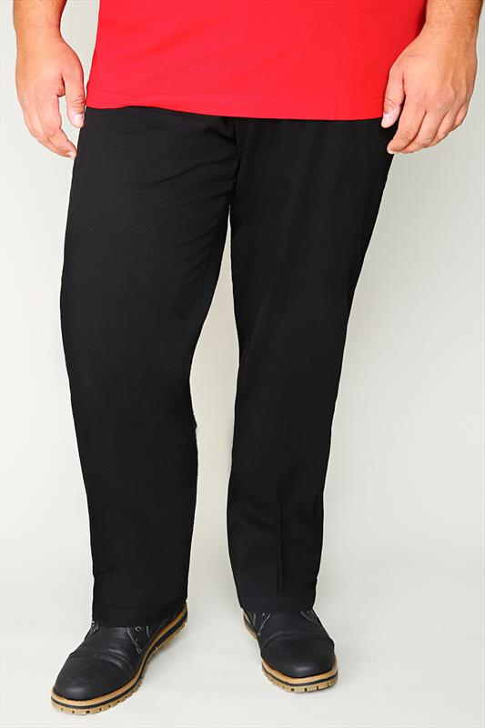 D555 Black Smart Trousers With Internal Extender Panel - TALL