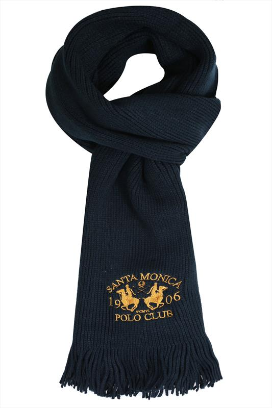 SANTA MONICA Navy Knitted Scarf With Tassels