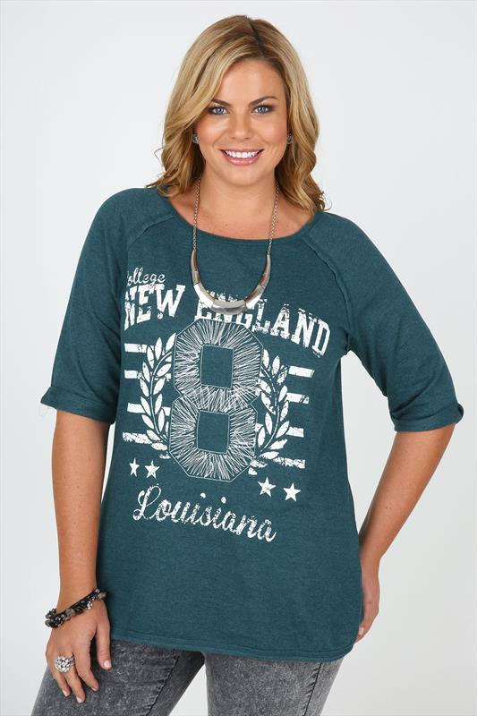 Teal New England Varsity Print Sweat Top With Zip Detail