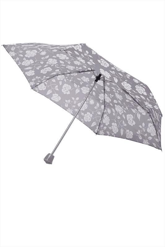 Grey Rose Floral Print Umbrella