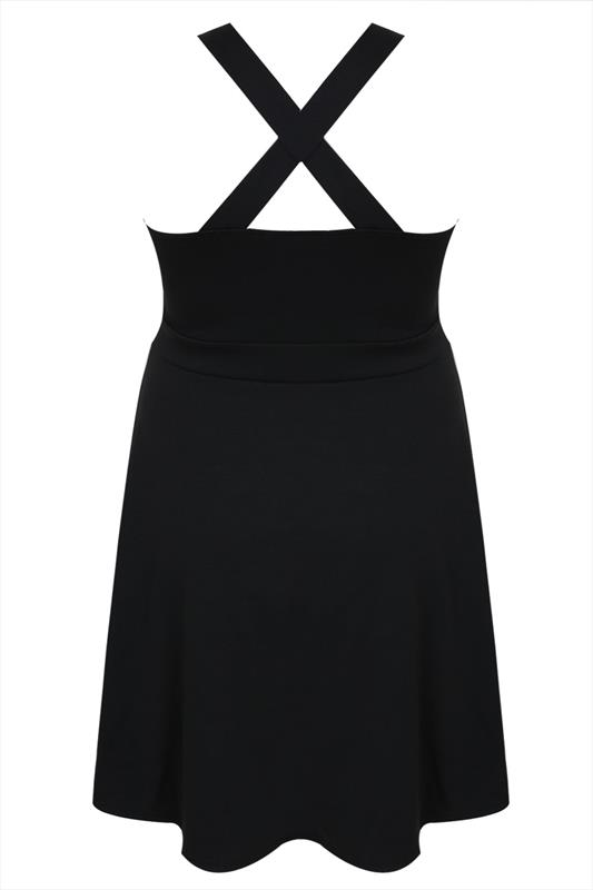 Black Ponte Skater Pinafore Dress With Pockets