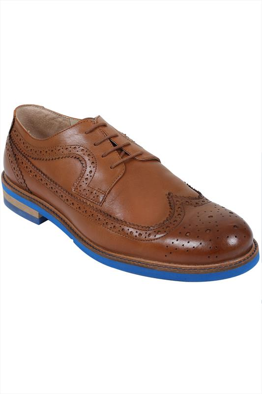 Tan LEATHER Lace-Up Brogues With Contrast Sole