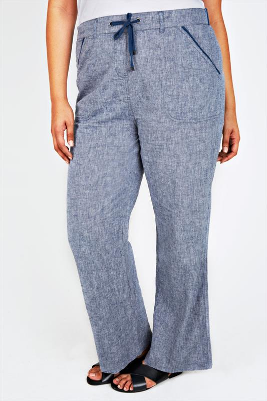 Blue Cross Dyed Cotton Linen Mix Full Length Pull On Trousers