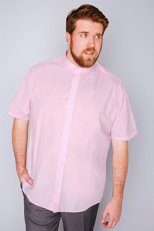 Slate Grey Pale Pink Formal Short Sleeved Shirt - TALL