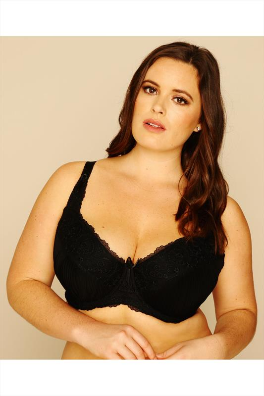 Black Pleat Embroidered Underwired Bra