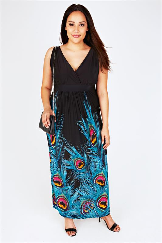 Black And Blue Peacock Feather Print Maxi Dress
