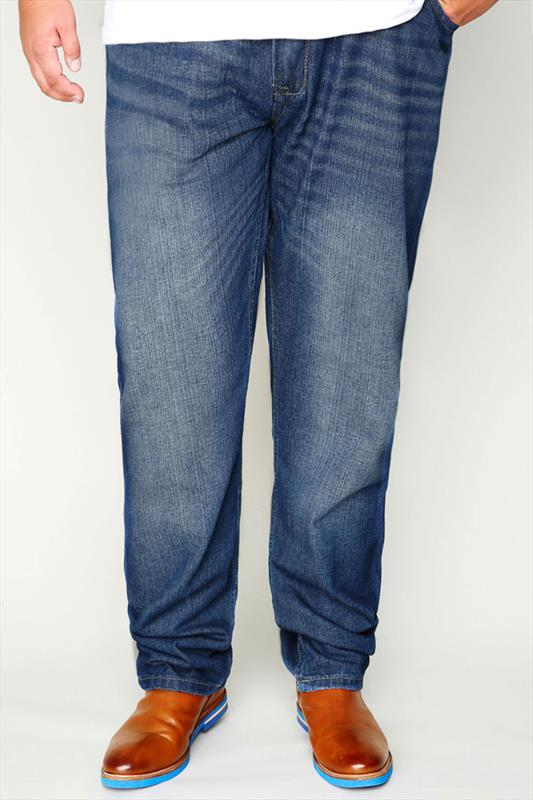 D555 Faded Dark Blue Denim Tapered Jeans - TALL