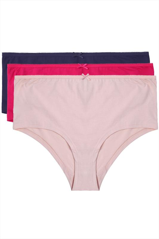 3 PACK Navy, Peach And Fuchsia Pink Cotton Short Briefs