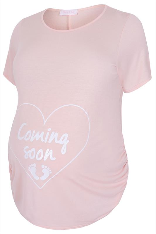 BUMP IT UP MATERNITY Pink 'Coming Soon' Top, Size 16 to 32