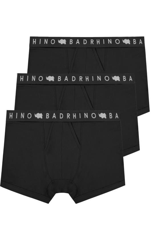 Boxers & Briefs 3 PACK BadRhino Black Elasticated A Front Boxers 200561