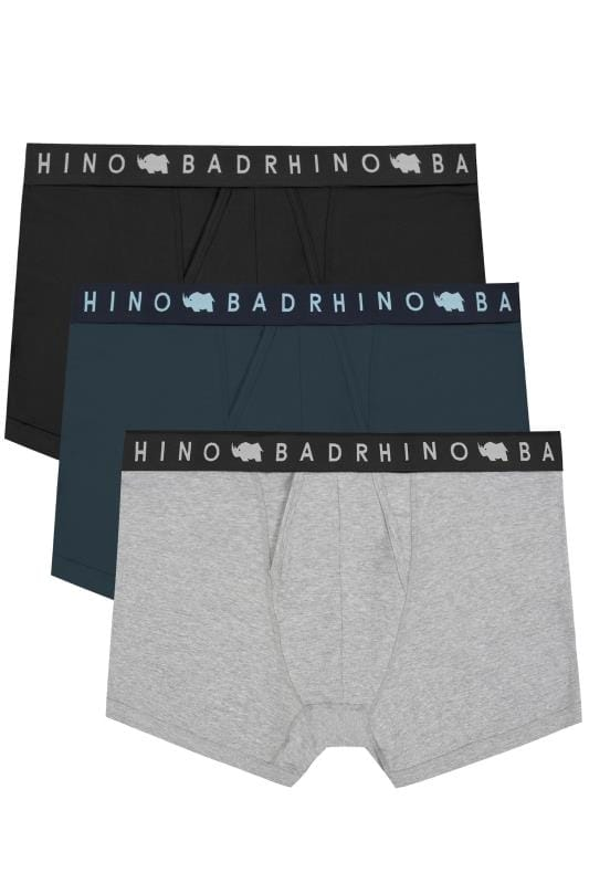 Boxers And Briefs 3 PACK BadRhino Black, Navy & Grey Marl Elasticated A Front Boxers 200555