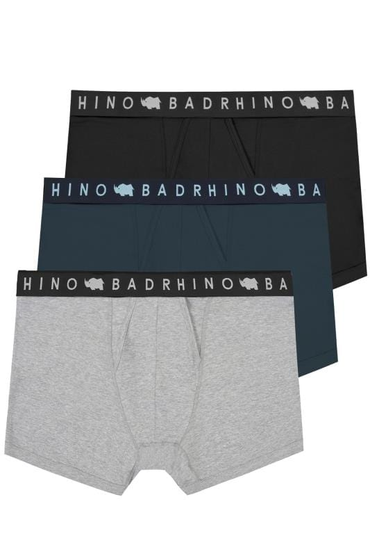 Boxers & Briefs 3 PACK BadRhino Black, Navy & Grey Marl Elasticated A Front Boxers 200555