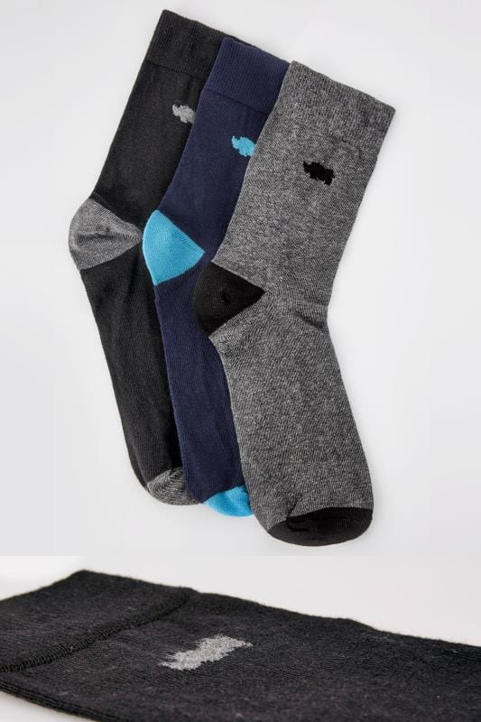 3 PACK BadRhino Black, Navy & Grey Socks With Contrast Heel