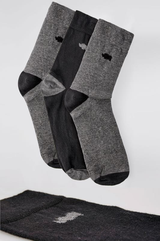 3 PACK BadRhino Grey & Black Socks With Contrast Heel