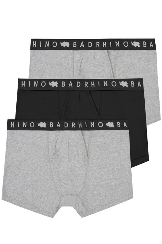 Boxers & Briefs 3 PACK BadRhino Grey Marl & Black Elasticated A Front Boxers 200557