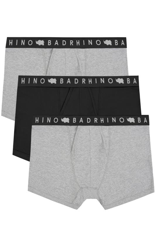 Boxers And Briefs 3 PACK BadRhino Grey Marl & Black Elasticated A Front Boxers 200557