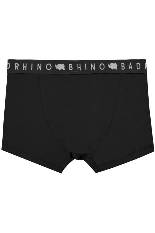 3 PACK BadRhino Grey Marl & Black Elasticated A Front Boxers
