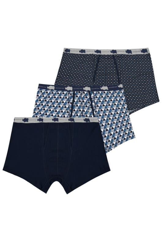 3 PACK BadRhino Navy & Multi A-Front Boxers
