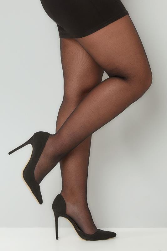 Grande taille  Collants  Paquet de 3 Collants Noirs 20 Deniers - Résistant aux mollets