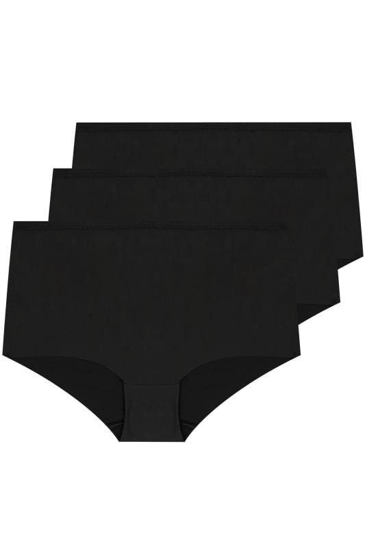 Plus Size Plus Size Briefs 3 PACK Black No VPL Full Briefs