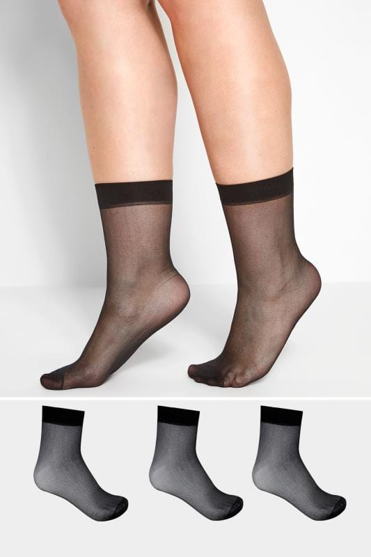 Plus Size Socks 3 PACK Black Sheer Ankle Socks