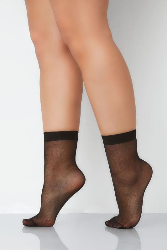 Plus Size Plus Size Socks 3 PACK Black Sheer Ankle Socks