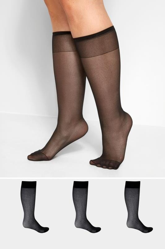 Plus Size Socks 3 PACK Black Sheer Knee High Socks