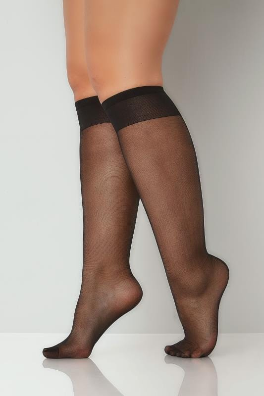 Plus Size Socks 3 PACK Black Sheer Knee High Socks With Comfort Top