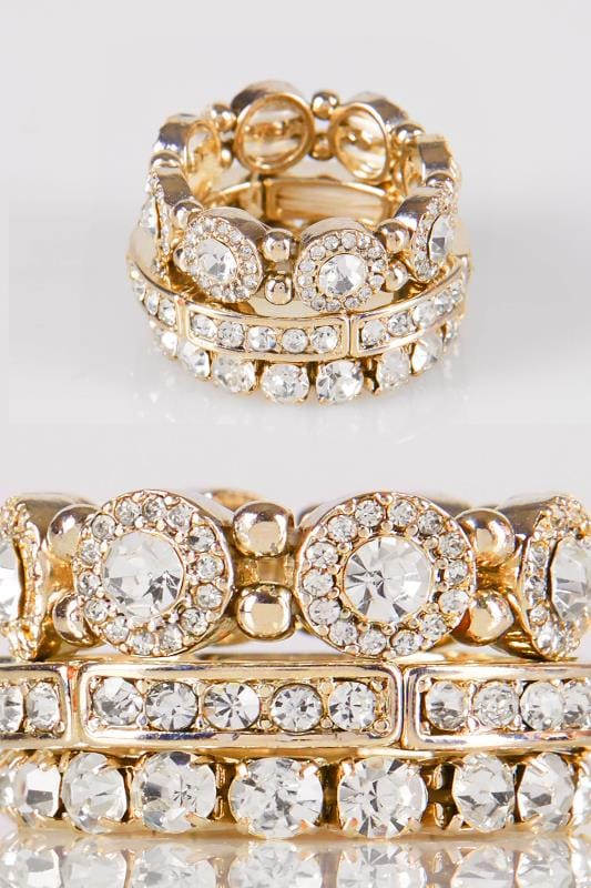 Plus Size Jewellery 3 PACK Gold Diamante Stretch Rings