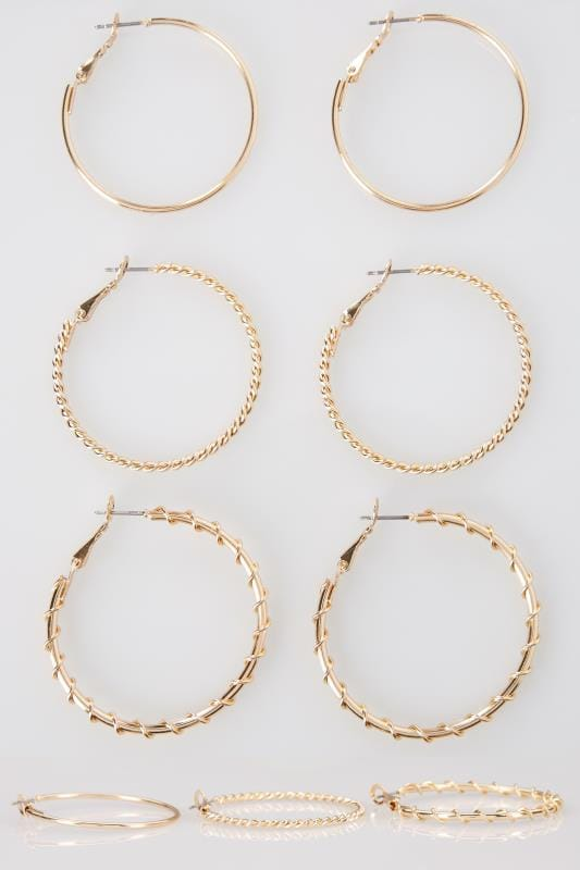 Plus Size Earrings 3 PACK Gold Medium Hoop Earrings
