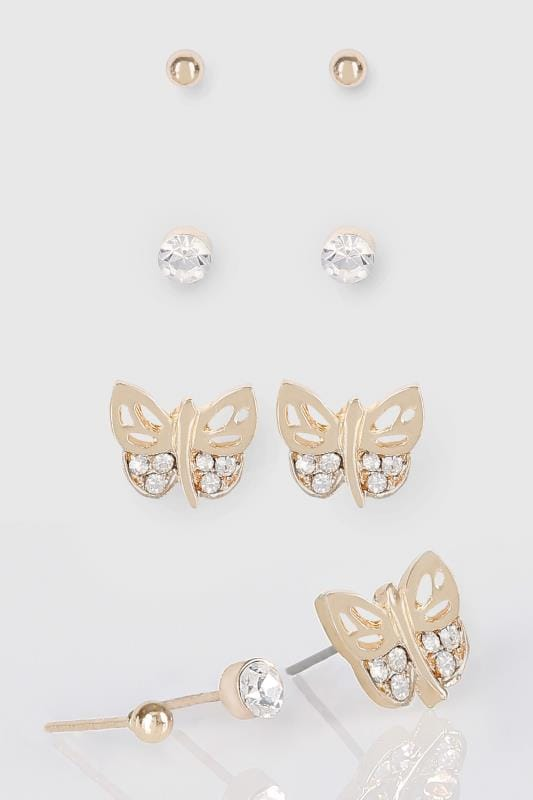 3 PACK Gold & Silver Butterfly Stud Earrings