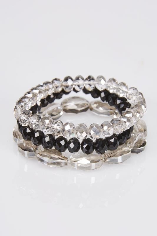 3 PACK Grey & Black Stretch Bracelet