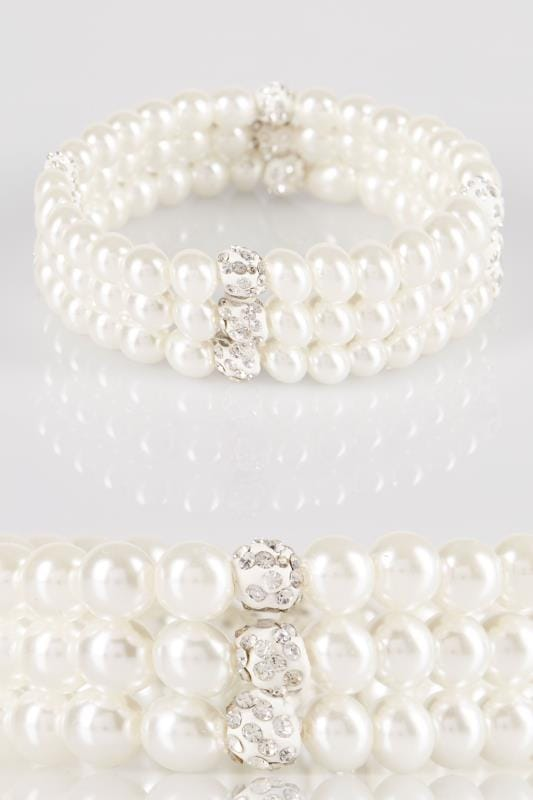 Plus Size Bracelets 3 PACK Ivory Pearl Stretch Bracelets With Diamante Sparkle Detail