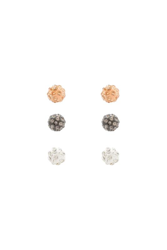 3 PACK Multi Metallic Gem Encrusted Ball Stud Earrings