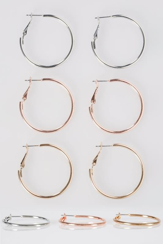 3 PACK Mixed Hoop Earrings